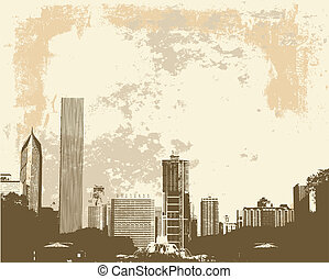 Chicago skyline - Grunge style view of Chicago skyline from...