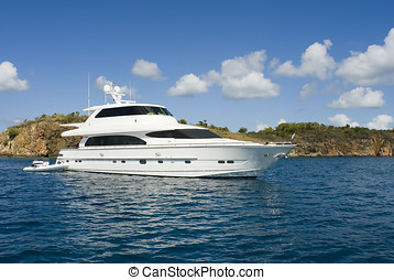 Luxury Yacht - A luxury yacht anchored in the Caribbean