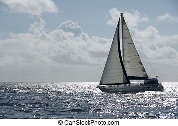 Sailing at Speed - A sailboat in the Caribbean.
