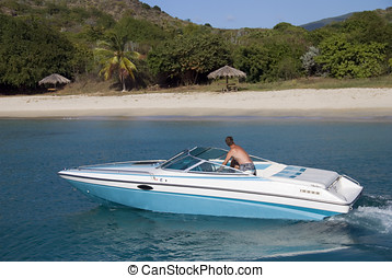Speedboat - A speedboat in the Caribbean