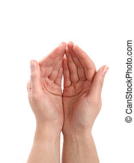 Cupped hands - Business concept - cupped hands - giving,...