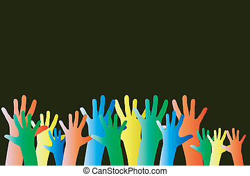 Hands in a crowd, showing diversity