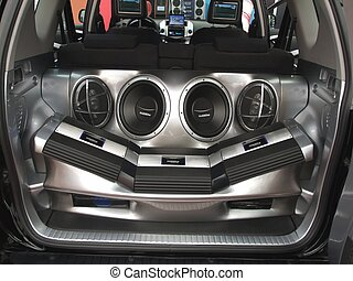 car audio system with loudspeakers and amplifier