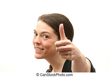 Happines - Happy business woman over white background