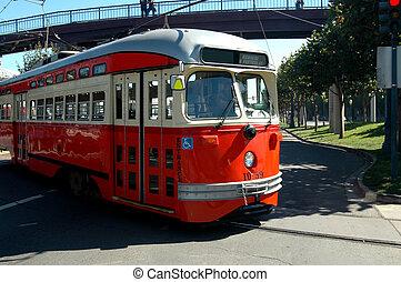 Trolley Car Bus - A San Francisco Teolley making its way...
