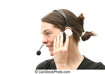Call centre assistant - Business woman with headset and...