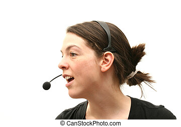 Business woman with headset. Isolated over white