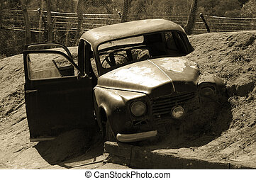 Car Stuck in Mud - A Car stuck in mud after accident