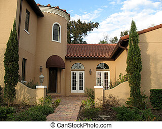 Entry to Mediterranean Home - entryway to upscale...