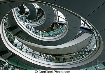 Circle stairway - Modern stairway made form metal and glass