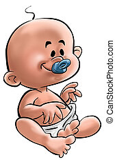 the baby - a beautiful baby with your blue pacifier