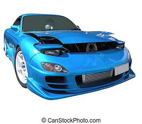 Mazda RX-7 1996 - A blue Mazda RX-7 Isolated on white with a...