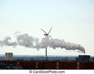 Wind Power and Smoke - portrait of industry smoke passing...