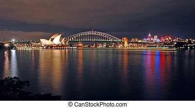 sydney night skyline - opera house, harbour bridge and north...
