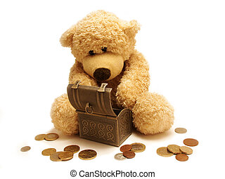 teddy bear and treasure - Teddy-bear counting money near a...