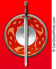 sword and board - Old knightly sword and board on a red...