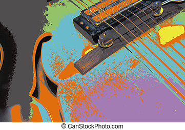 Six string medley - Photoshop rendition of archtop guitar
