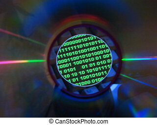binary code and cd - keyboard binary code visible through...