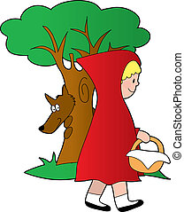 Little Red Riding Ho - Little girl in the woods with a...
