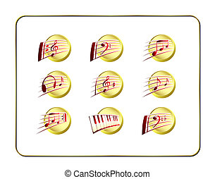 Icon Set, Music - Golden-Red - Music icon Set, golden-red...