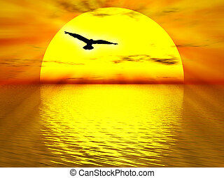 The sun - Illustration about yellow sun going down the ocean...
