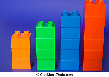 Statistics - Colorful cube blocks isolated on blue