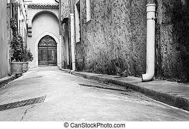 Antibes #73 - A quiet street in Antibes, France. Black and...
