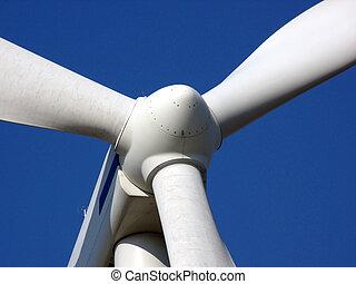 Wind Turbine - close-up portrait of wind turbine in blue sky