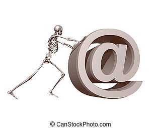 death mail - a skeleton pushes an at symbol - 3d...