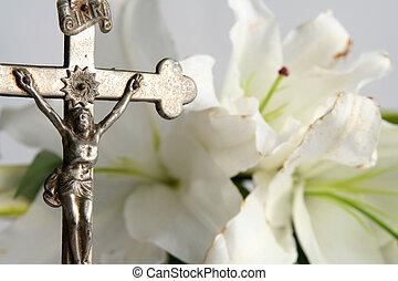 crucifixos, Páscoa, lírios