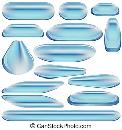 Buttons BLUES - High detailed glass buttons - illustration.