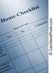 Home checklist - special toned blue photo fx with dark...
