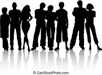 Best friends - Silhouette of a group of friends