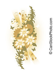 Beige Floral Swag - Butterfly and flower illustration Beige...