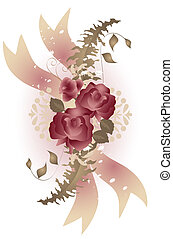 Vintage Roses - Vintage style roses and fern in soft pink...