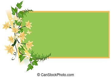 Spring Background - Flower background with tiger lilies, ivy...
