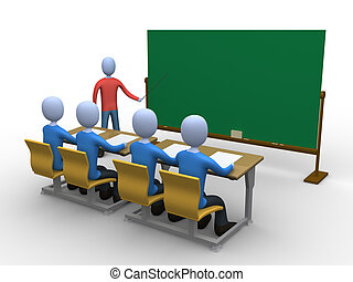 Teacher in Classroom - 3d person teaching a class....