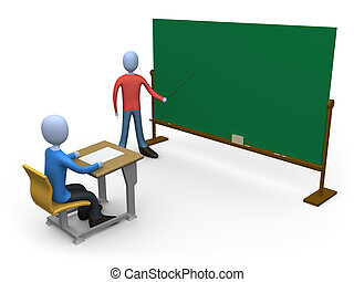 Teacher in Classroom - 3d person teaching a class Blackboard...
