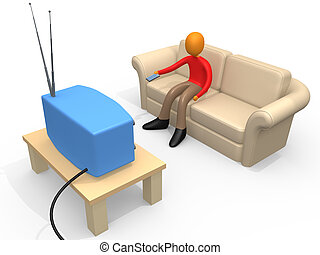 Person Watching Television - 3d person sitting on a sofa...