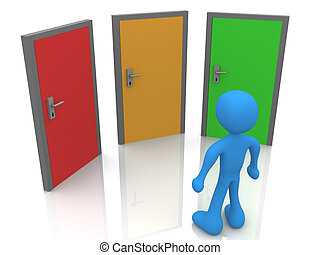 In Front Of Three Doors - 3d Person In Front Of Three Doors.