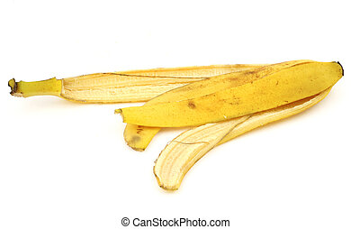 banana skin spread on white background