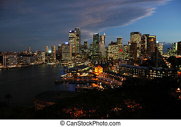 sydney dusk - dusk in sydney, photo taken from harbour...