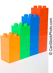 Statistics - Colorful cube blocks isolated on white