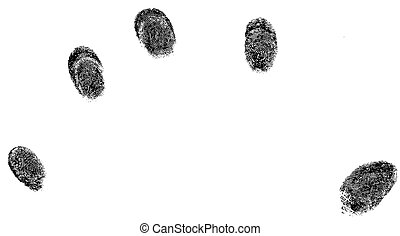 5 fingertip prints - 5 black fingerprints - simple...
