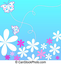 Floral butterflies - Flowers and butterflies on blue...