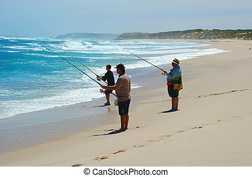 Beach Fishing Together - The men beach fishing at Point...