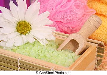 Bath Salts - Green Bath Salts with Flower and Bath Sponge