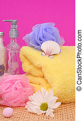 Bath Products on Pink Background