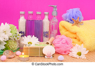 Bath Products - Bath and Spa Products with flowers on Pink...