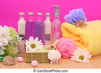 Bath and Spa Products on Pink Background